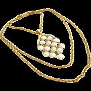 Vintage Crown Trifari Cream Bead Waterfall Three Chain Necklace