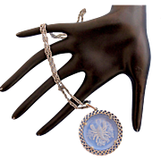 Vintage Trifari Zodiac Scorpio Intaglio Pendant in Silver Tone Metal