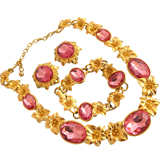 Vintage Trifari Kunio Matsumoto Gold Plated Lily Flower Necklace with Pink Crystal Rhinestones