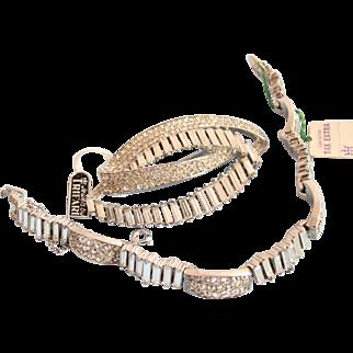 Vintage Trifari Clear Rhinestone Bracelet Brooch Set - Mint Condition with Original Tags