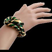 Vintage Trifari Garden of Eden Green Enamel Snake Clamper Bracelet