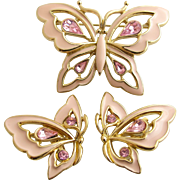 Vintage Trifari Pink Enamel Butterfly and Clip Earrings