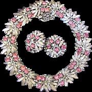 Vintage Crown Trifari Pink Rhinestone Silver Tone Leaf Necklace and Earring Set