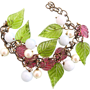 Vintage Glass Leaves and Faux Jade and Faux Pearl Dangle Bracelet