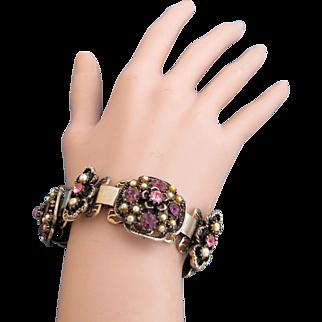 Vintage Faux Pearl and Purple Rhinestone Book Chain Bracelet
