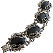 Vintage Glass Onyx Ornate Silver Tone Bracelet