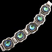 Vintage Blue Watermelon Stone Silver Tone Link Bracelet