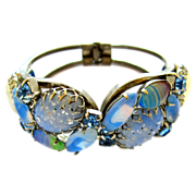 Delizza and Elster (aka:  Juliana) Blue Art Glass Clamper Bracelet