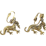 Vintage Clip Dragon Earrings