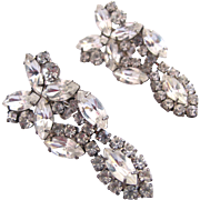 Vintage Clear Marquise Rhinestone Drop Earrings