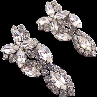 Vintage Clear Marquise Rhinestone Drop Earrings