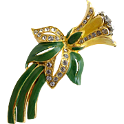 Vintage Yellow Enamel Trembler Flower Brooch