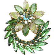 Vintage Green Rhinestone Flower Brooch