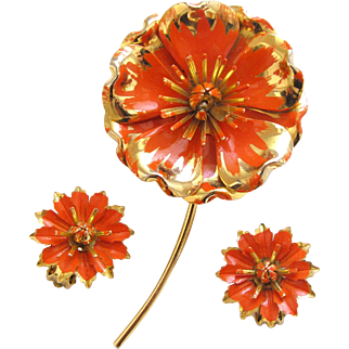 Vintage Orange Mum Enamel Flower Pin and Earring Set