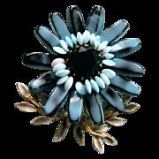 Vintage Designer Quality Blue Art Glass Flower Brooch / Pin