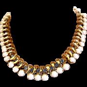 Milk Glass and Blue Rhinestone Choker Necklace