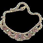 Vintage Special Occasion Lavender Rhinestone Necklace