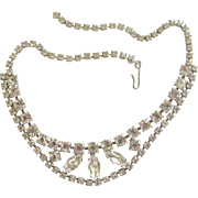 Vintage Clear Rhinestone Special Occasion Choker Necklace