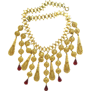 Vintage Gold Tone Filigree Bib Necklace