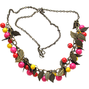 Vintage Brassy Leaf and Colored Ball Necklace