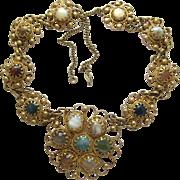 Vintage Brassy Boho Glass Stone Flower Pendant Necklace
