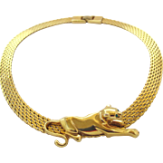 Vintage Panther Gold Tone Slide Necklace