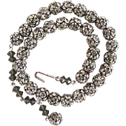 "Vintage Disco Ball ""Black Diamond"" Rhinestone Bead Choker Necklace"