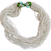 Vintage Torsade White Seed Bead Choker Necklace with Art Glass Clasp
