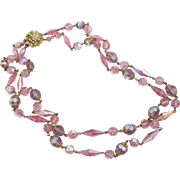Vintage Lavender Pink Crystal Double Strand Necklace