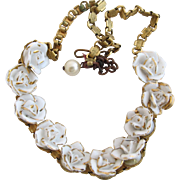 Vintage 3D White Rose Bookchain Necklace