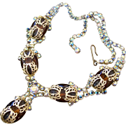 Vintage Gold Tone Filigree Topaz Rhinestone Necklace