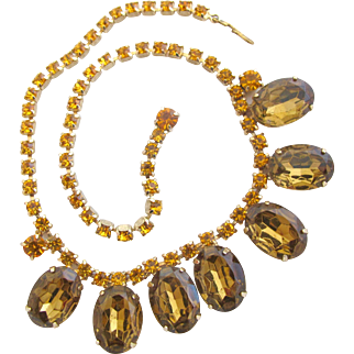 Vintage Oval Amber Rhinestone Drop Choker Necklace