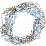 Vintage Pale Blue Art Glass and Faux Pearl Opera Necklace
