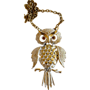 Vintage Whitewashed Articulated Owl Pendant Necklace