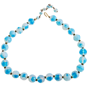 Vintage Opalescent Blue Faceted Bead Choker Necklace