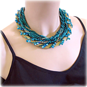Gold Tone Mesh and Teal Tube Bead Choker Necklace