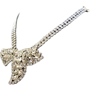 Vintage Clear Rhinestone Bow Necklace