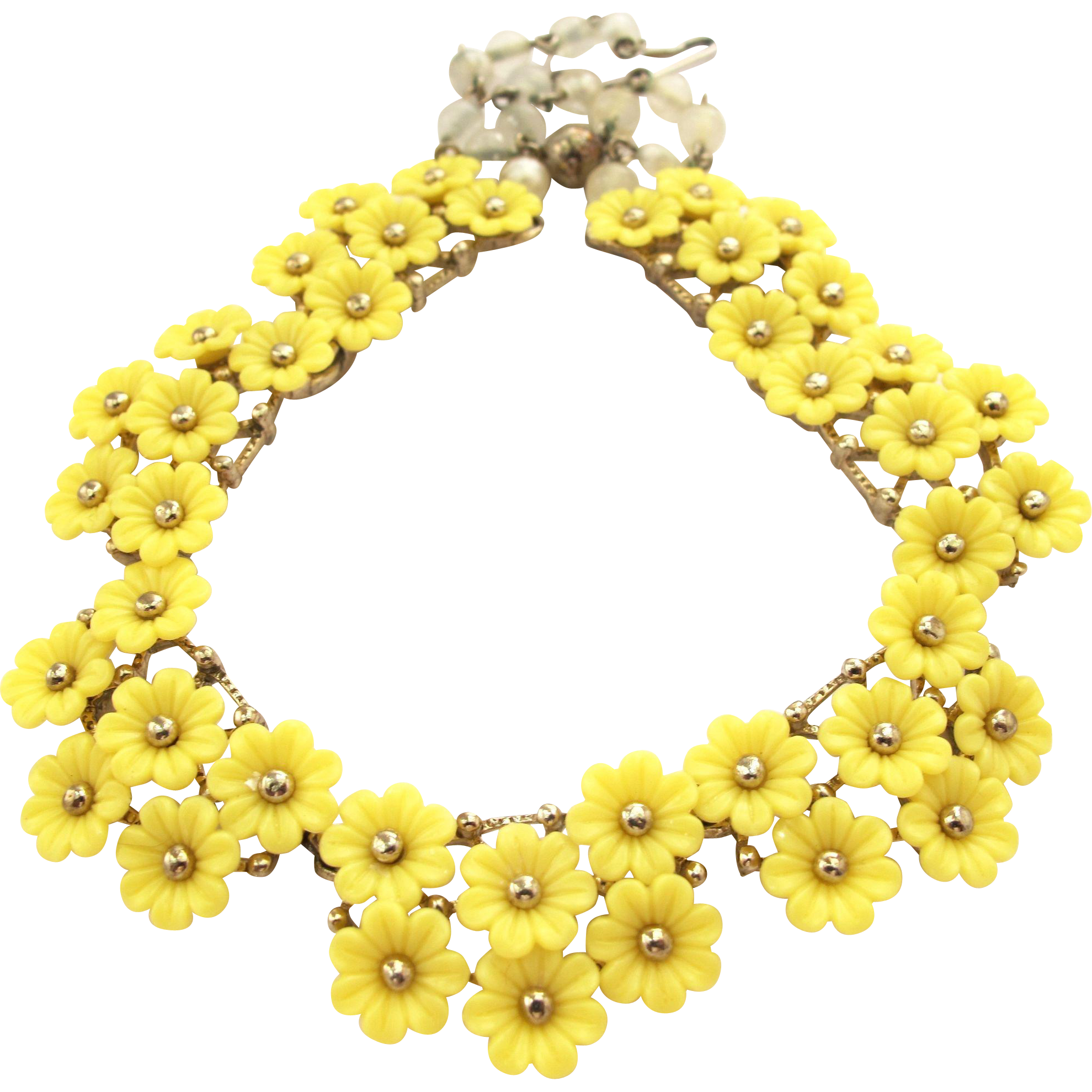 Vintage molded plastic yellow flower choker necklace 2hearts vintage molded plastic yellow flower choker necklace 2hearts jewelry accessories ruby lane mightylinksfo