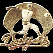 Very Vintage Dodger Baseball Batter Brooch