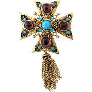 Vintage Purple Cabochon Maltese Cross Brooch with Chain Tassels