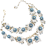 Vintage Enamel White Leaves and Blue Flower Necklace and Bracelet Set
