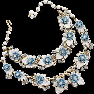 Vintage Enamel White Leaves and Blue Flower Necklace and Bracelet Set