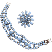 Vintage Blue Milk Glass and Rhinestone Bracelet and Pin
