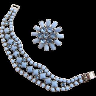 Vintage Blue Milk Glass and Rhinestone Bracelet and Pin