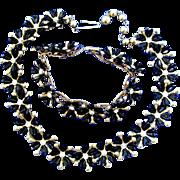 Vintage Black Plastic Flower Necklace and Bracelet Set