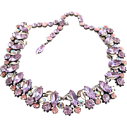 Vendome Lavender and Pink Rhinestone Necklace