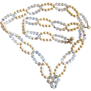 Vintage Vendome Faux White Pearl and Crystal Long Necklace