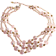 Vintage Vendome Three Strand Clear Crystal Necklace