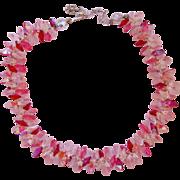 Vintage Vendome Cranberry and Pink Rivoli Choker Necklace