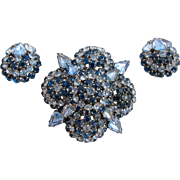 Vintage Warner Blue Rhinestone Flower Brooch and Earring Set